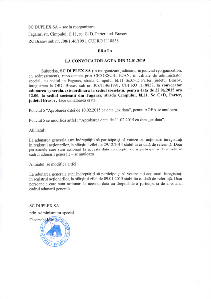 DUPLEX SA Fagaras - Constructii- Montaj- Instalatii